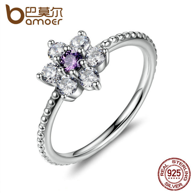 BAMOER 925 Sterling Silver Finger Rings Forget Me Not, Purple & Clear CZ Ring Fe