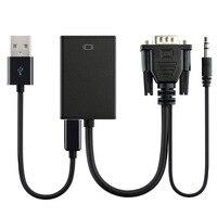 VGA Аудио, преобразование HDMI адаптер настольный компьютер, ноутбук компьютер, dvd-плеер, телеприставка, вход VGA сигнала, плеер, черный