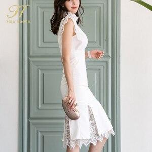 Image 4 - H Han Kraliçe Kadın Yaz 2 Adet Takım Elbise 2019 Dantel Patchwork Gömlek Üst Ve Mermaid Bodycon Etekler OL Iş Elbisesi iş Seti Yeni