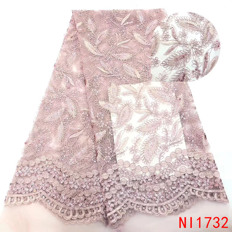 African Tulle French Lace 2019 Nigerian French Sequins Laces Fabrics With Sequins Embroidery Materials For Wedding KsNI1732