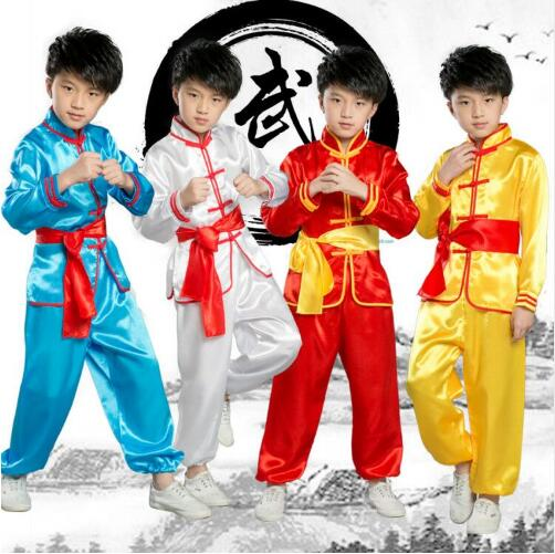 (0102) Children's Martial performance costumes girls and boys Kung Fu Long Sleeve taiji folk dance clothing