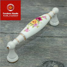 96mm modern fashion ivory white furniture handles Rural ceramic drawer cabient pull white gold dresser cupboard door handle knob