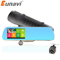 Eunavi 5 Inch IPS Car GPS Navigation DVR Rearview Mirror Android 4 4 Dual Camera Truck
