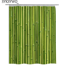 Зеленая бамбуковая занавеска для душа, полиэфирная ткань, занавеска для ванной комнаты, Бамбуковая винтажная дверь, аксессуары для ванной комнаты, 3D занавеска