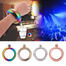 Portable Bangle Armband Höftkolv Runda Chic Elegant Vin Armband Bangle Blandat Flaska 3,5 oz Whiskey Vodka Alkohol Drinkware