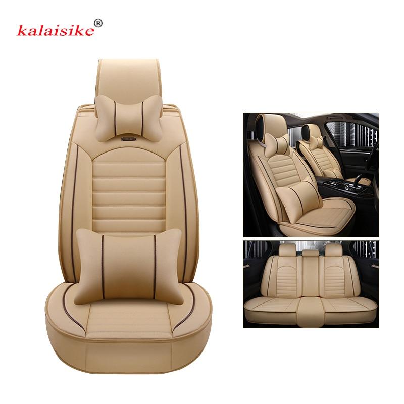 Kalaisike кожаные универсальные автомобильные чехлы на сиденья для Nissan Все модели qashqai x trail tiida Note Murano March Teana Авто Стайлинг
