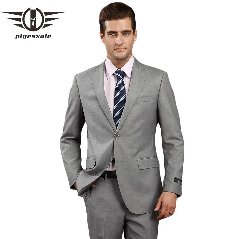 Plyesxale garnitury męskie 2018 marka odzież Slim Fit mężczyźni formalnym garnitur szary męskie garnitury ślubne pan młody 4XL wełny blezer ze spodniami Q74 w Garnitury od Odzież męska na  Grupa 1