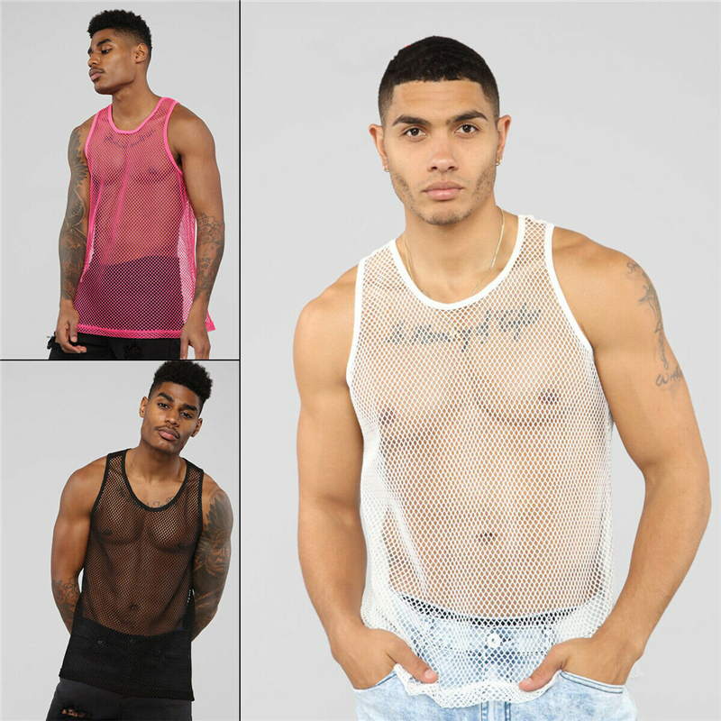 Mens Fishnet Short Sleeve Muscle T Shirt See Through Zipper Tank Top Vest Club
