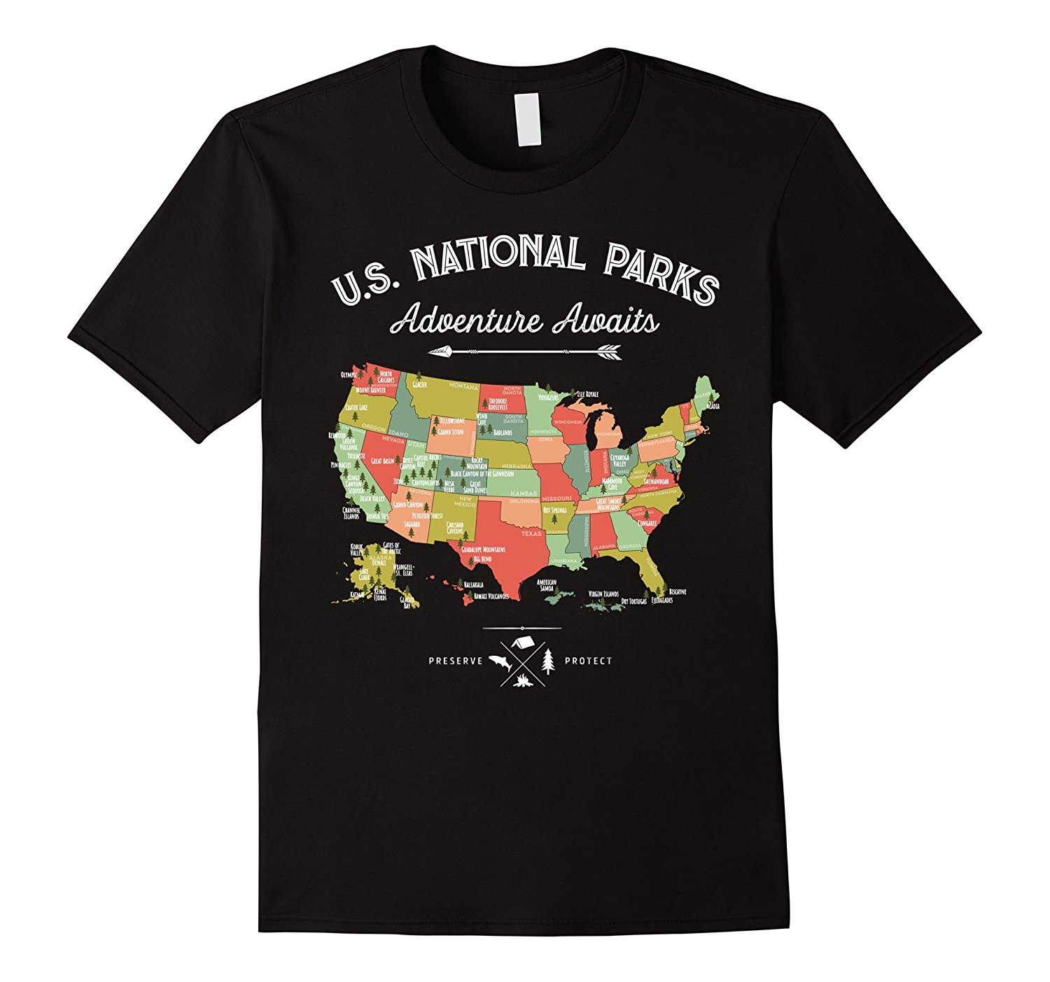 National Park Map Vintage All National Parks T-Shirts Short Sleeve Leisure Fashion Summer Print Men Hot Top image