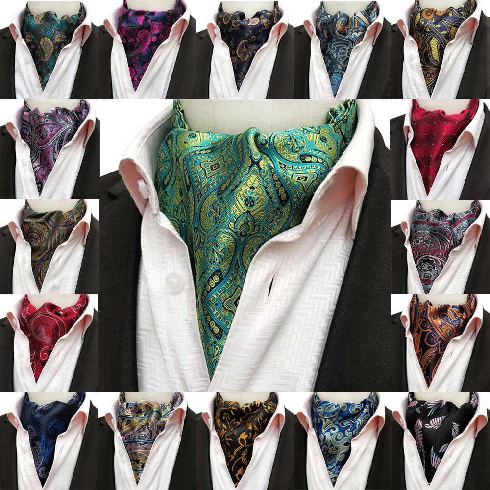 Men Business Cravat Ascot Scarves Colorful Paisley Flower Wedding Party Ties BWTHZ0339