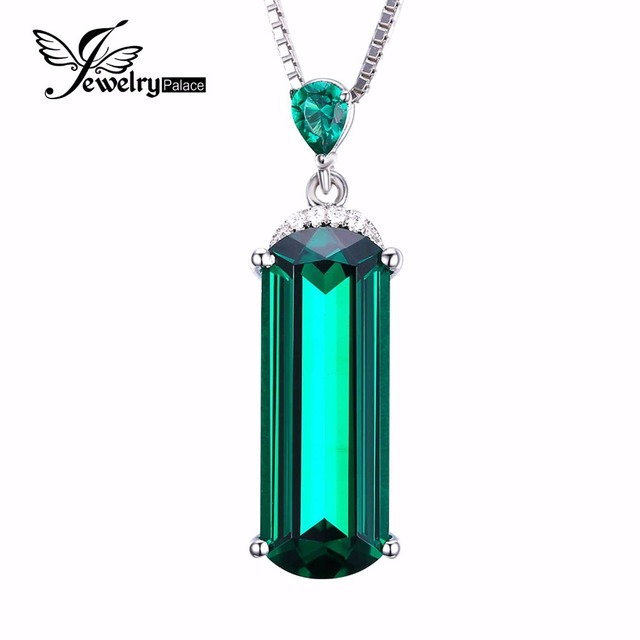JewelryPalace Fancy Cut 4.4ct Created Green Russian Nano Emerald Pendant 925 Sterling Silver Fine Jewelry Not Include the Chain