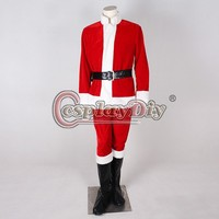 Cosplaydiy Custom Made Red Christmas Santa Claus Clothes Cosplay Costume Adult Suit Uniform J1112