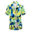 2016 Tropical Hawaiano Lleno de Flores de Manga Corta de Los Hombres Casual Beach Party Tamaño Asiático L-4XL Camisas Tops de secado Rápido