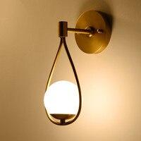 BEIAIDI Nordic Eisen Glas Ball Wand Lampe Bad Spiegel Neben Lampe Schlafzimmer Nacht Wand Licht Hotel Korridor Gang Wand Leuchte