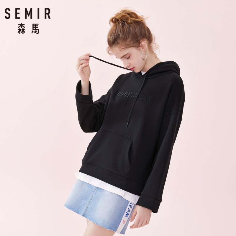 SEMIR Women Oversized Embroidered Hooded Sweatshirt With Kangaroo Pocket Women's Dropped Shoulder Pullover Hoodie Lfor Spring