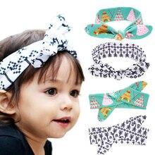 New Cute Hair Elastic Bow Knot DIY Headband Kids Rabbit ears Hair Band Cotton Headwear scrunchy Hair Accessories EASOV W223