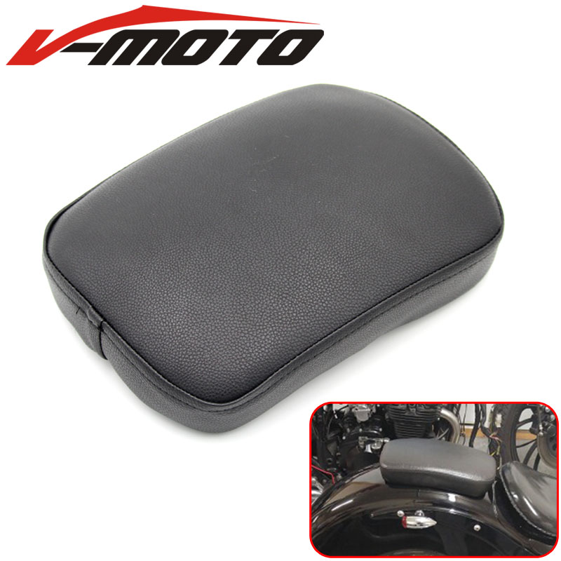Black Motorcycle Rear Passenger Cushion Pillion Seat Pad Suction Cups For Harley /Dyna /Sportster /Softail Touring