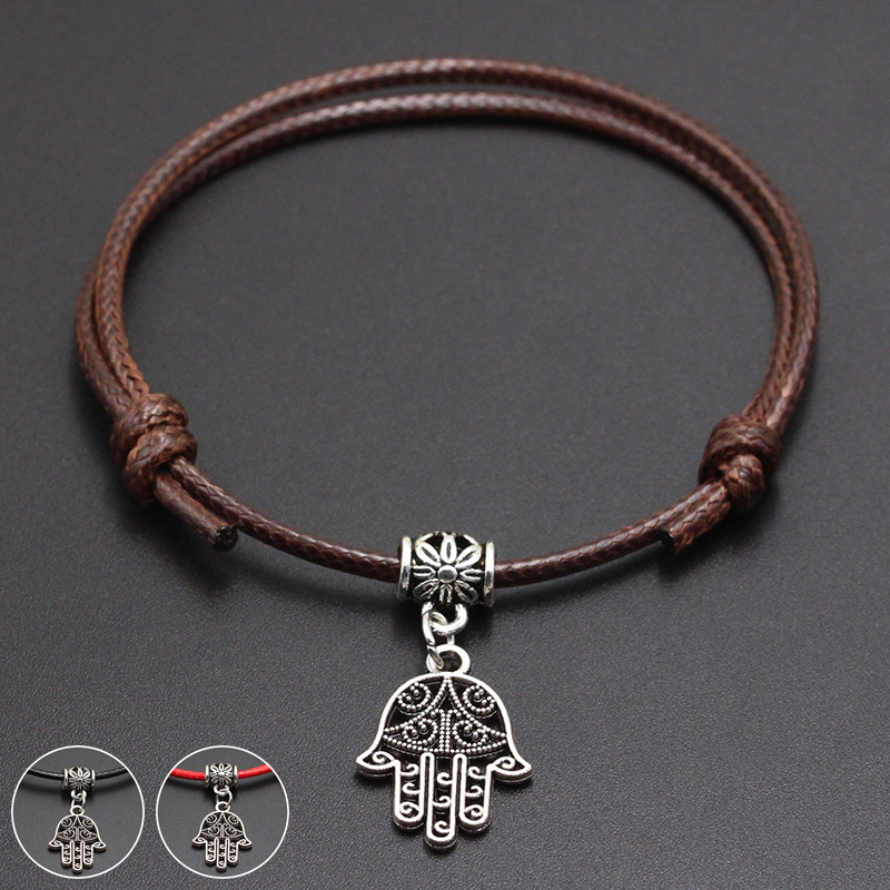 2020 New Hamsa Palm Pendant Red Thread String Bracelet Lucky Black Coffee Handmade Rope Bracelet for Women Men Jewelry