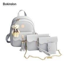 Bokinslon Для женщин композитный мешок Повседневное кисточкой женская обувь из искусственной кожи Сумки модные однотонные Цвет женский bacpacks Сумки