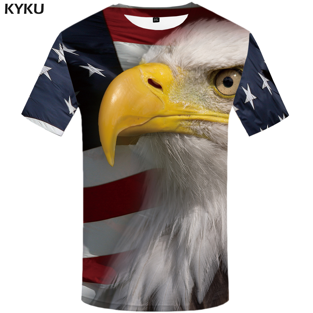 KYKU Brand USA T Shirt Men American Flag T-shirt United States Tshirt 3d  Animal Mens Clothing 2018 Summer Tee