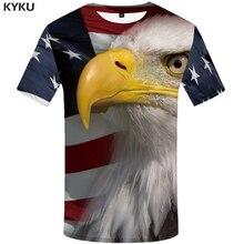 KYKU Brand USA T Shirt Men American Flag T-shirt United States Tshirt 3d  Animal Mens Clothing 2018 Summer Tee