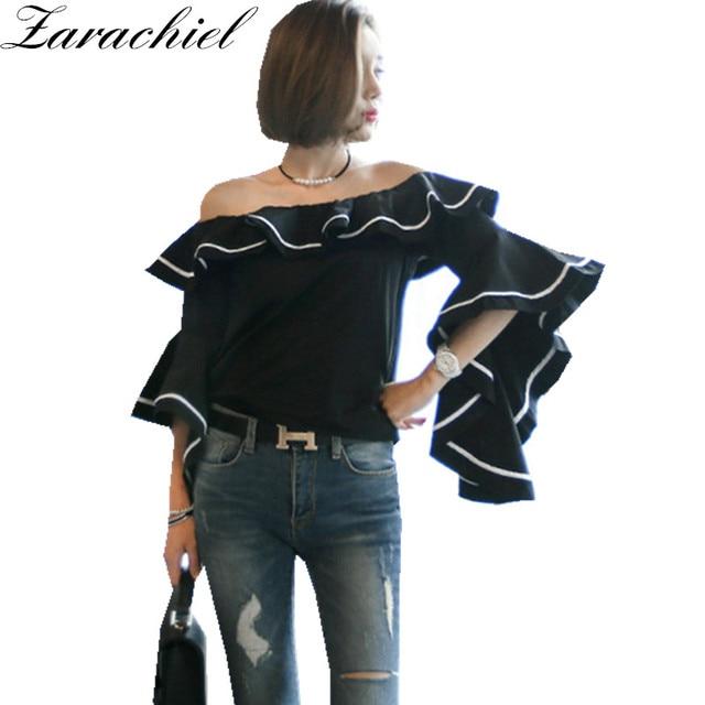 9bf53be4d8b Zarachiel New Korean Women Sexy Off the Shoulder Slash Neck Shirt Fashion  Tunic Big Flare Sleeve Ruffles Black Blouse Crop Top