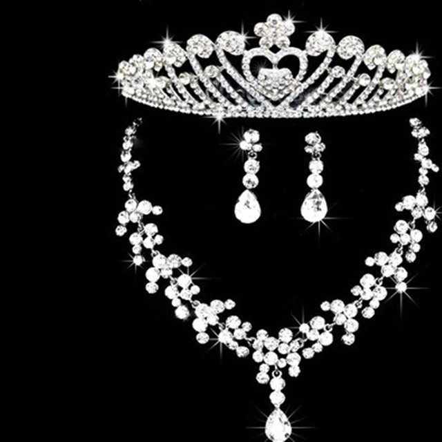 Colar Brinco Cocar Moda Prata Cristal Conjunto De Jóias de Noiva Acessórios de Strass Pente de Cabelo de Noiva Presente de Casamento Floral