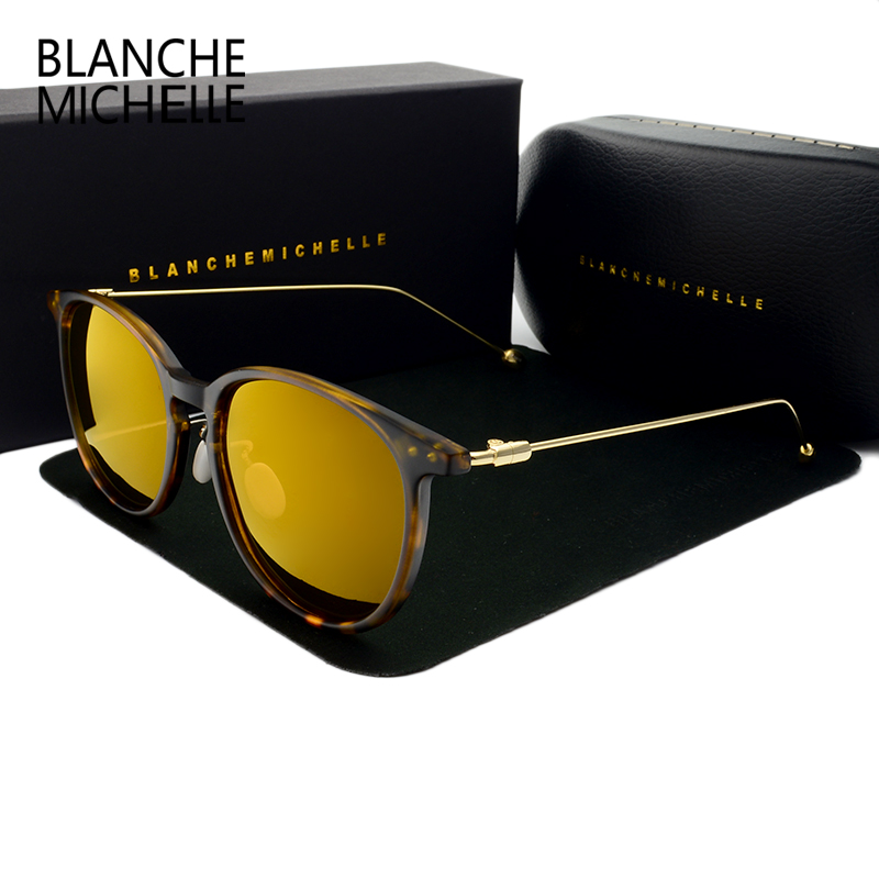 Blanche Michelle 2019 New Polarized Round 색안경 Women luxury brand vintage Men 일 Glasses Driving uv400 선글래스