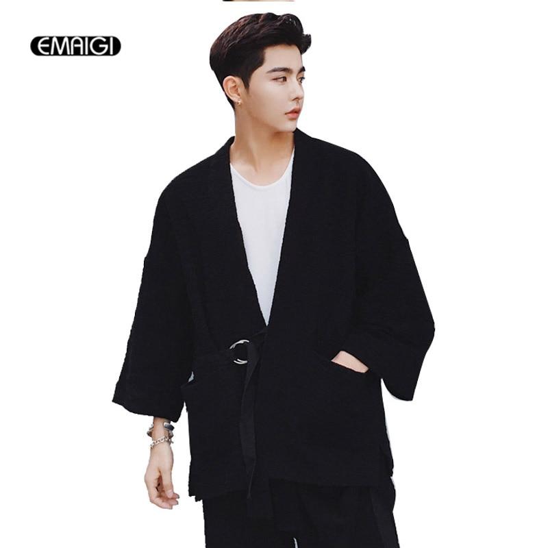 Men Cardigan Jacket coat trouser Japanese Cotton Knitting Fashion Casual Loose Short Sleeve Jacket