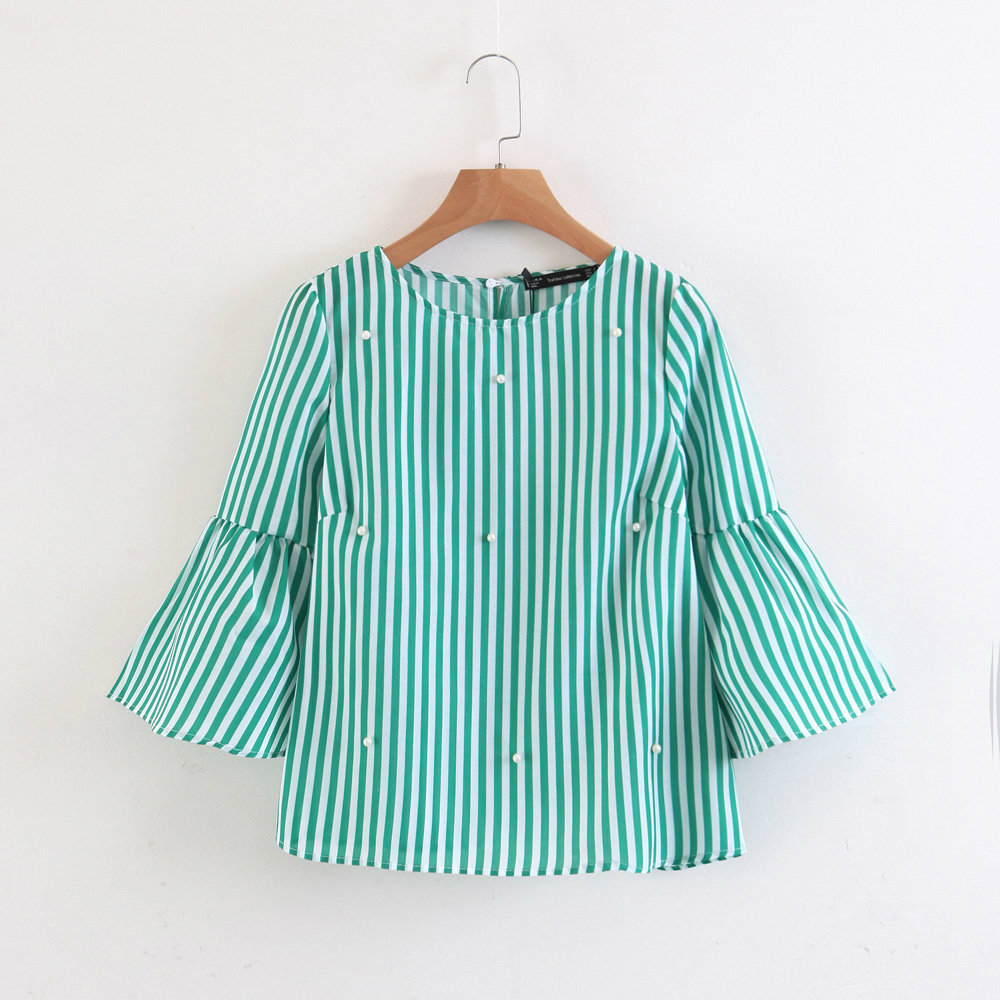 Women Flare Fashion gray Cute Shirts Stylish Casual Blouse Striped Sleeve green Beading White Tops Ladies Pearl Chic Wowmity Brand 7qYnZ