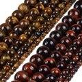 Tamaño de la selección 4 6 8 10 12mm Ronda Brown Rojo Tigre Granos del ojo de Piedra Natural Beads Espaciador de Los Granos Flojos Para DIY Pulsera joyería