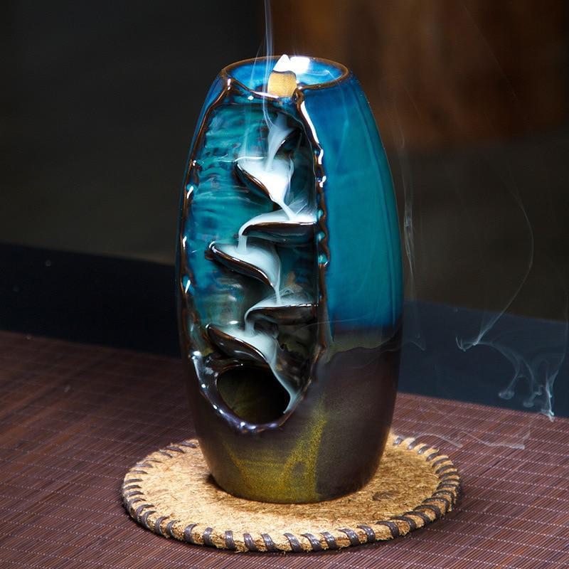 Backflow Incense Burner Ceramic Aromatherapy Furnace Smell Aromatic Home Office Incense Road Crafts Tower Incense Holder 流水 盆 養魚