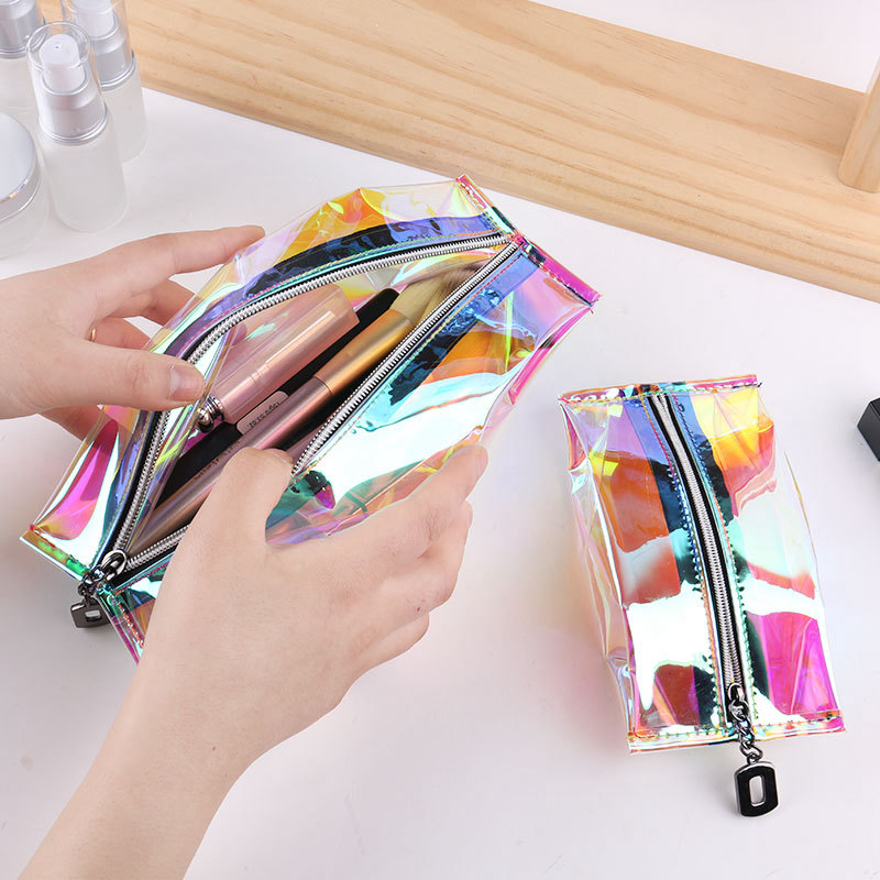 Fashion Laser Transparent Make Up Bag Women Travel Folding Cosmetic Organizer Zipper Storage Pouch Toiletry Beauty Wash Kit