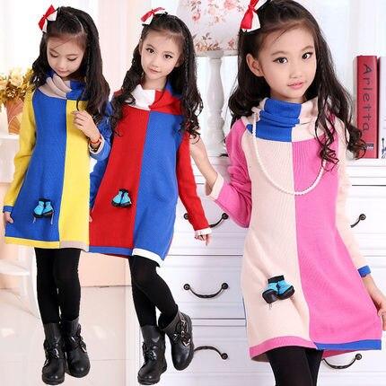 Моды конфеты цвет сшивание Девушка Свитера детский свитер Мальчики свитер девочки Осень и зима одежды Дети пальто