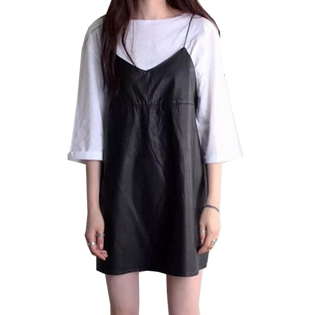 PU Leather Women Dresses Halter Spaghetti Strap Vestidos Solid Black Dress V Neck 2017 Spring Mini Robe Female New Fashion Dress