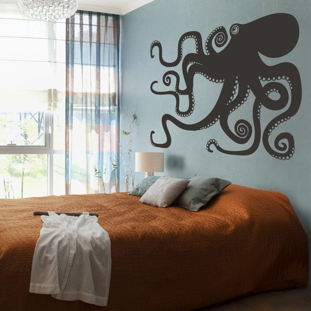 Bathroom wall art sea - Large Octopus Decal Ocean Wall Decor Sea Octopus Wall Art Bathroom Bedroom Living Room Sticker 213cm