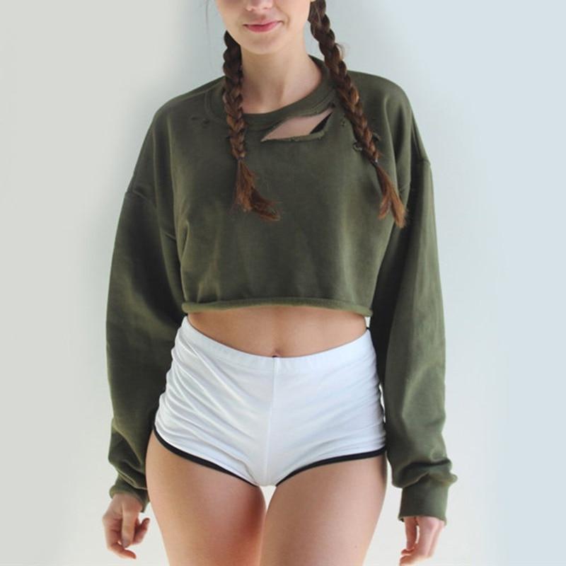 Harajuku Design Sweatshirts O-Neck Crop Tops Split Long Sleeves Hoodies Hole Women Clothing Feminina Loose Short Jumper Sweats
