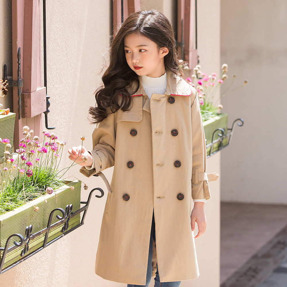 Girls Double-Breasted Trench Solid Coat for Autumn Outwear Long Trenchs Coats British Style Khaki Color Windbreaker with Belt girls windbreaker autumn winter kids cotton coat children khaki double breasted long clothing england style for 4y 12y