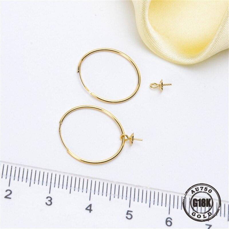 G18K Gouden Sieraden, AU750, Oorbellen Parel Accessoires, Oorhaak, Voor Vrouwen, Sieraden Bevindingen, DIY - 2
