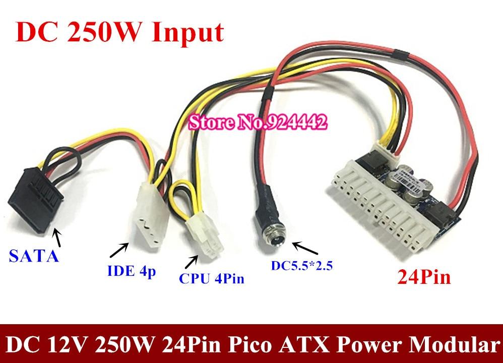 Free DHL/EMS DC 12V 160W 24Pin Pico ATX Switch PSU Car Auto Mini ITX High Power Supply Module 24p 50~100pcs