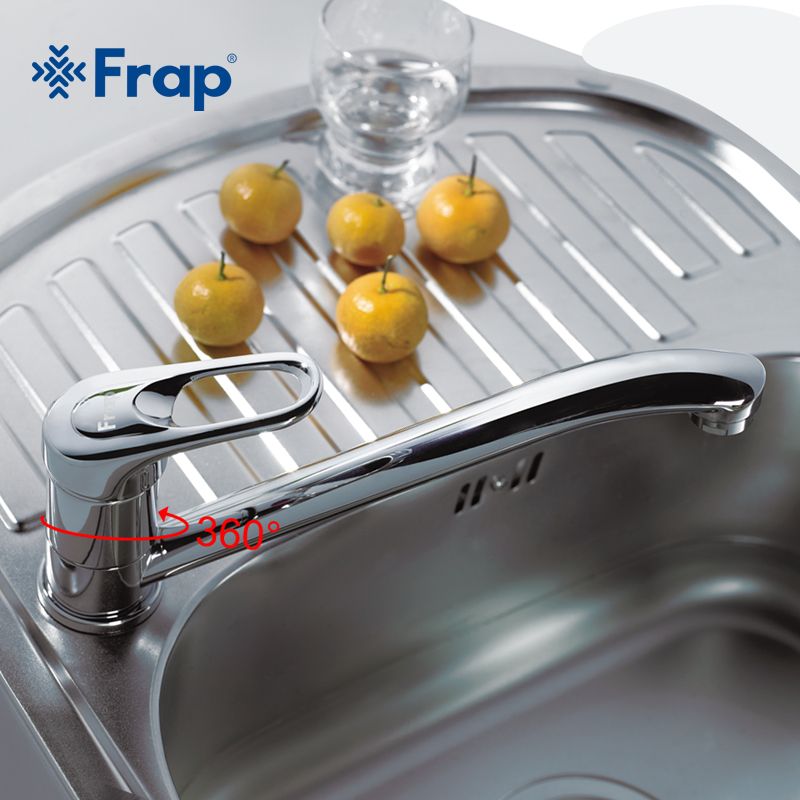 Frap One Set Single Handle Brass Deck Mounted Kitchen Faucet 360 Rotation Chrome Finish F4903 F4904
