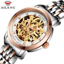 AILANG Relógios Das Mulheres Marca de luxo de Aço Inoxidável Relógio Mecânico Automático Mulheres Esqueleto Strass feminino Relógio À Prova D' Água
