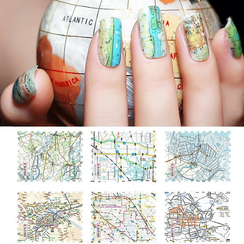 Map Nail Decals Cute Nail Decoration Fashion Stickers Glitter Neon ...