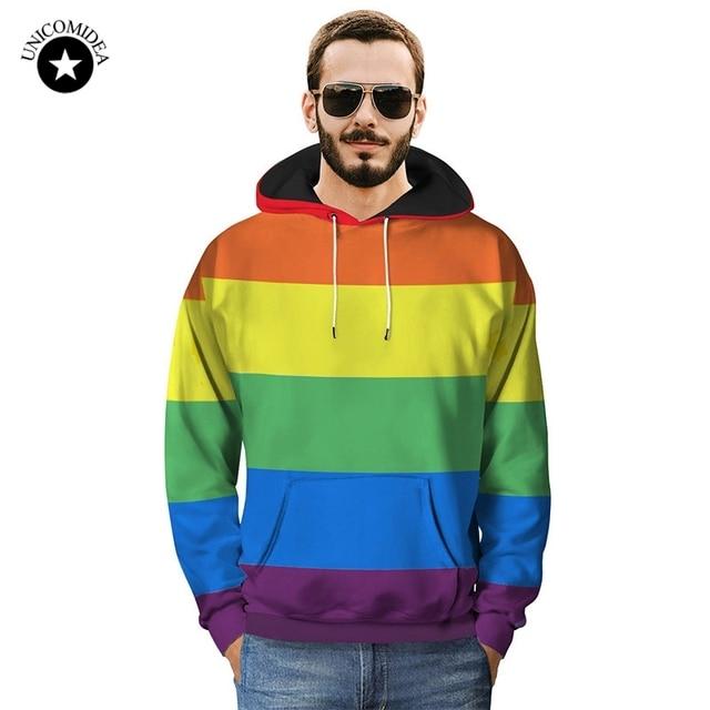 Fashion Rainbow Stripes Printed Sweatshirt Hoodies Men Women Streetwear LGBT Gay Pride Hoodie Autumn Long Sleeve Tracksuit