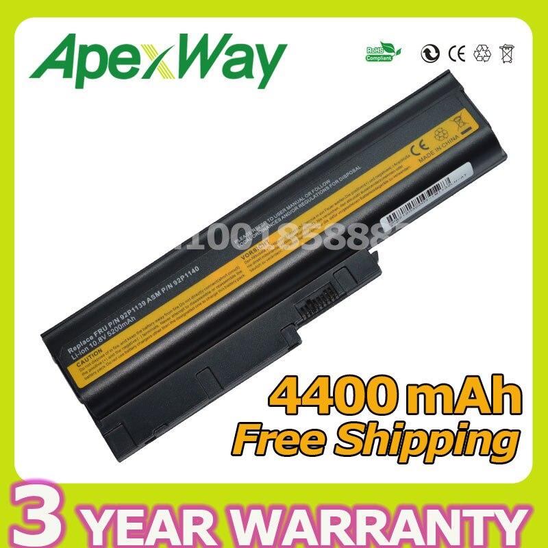 Apexway 4400mah 6 Cells Laptop Battery For Lenovo Sl500 Sl300 Sl400 T60 T60p T61 T61p W500 R60 R60e R60i R61 R61e R61i Modern And Elegant In Fashion Laptop Batteries