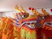Erwachsene player Größe 4 Gold überzogene Chinesischen DRAGON DANCE ORIGINAL Dragon Chinese Folk Festival Feier Drachen Kostüm