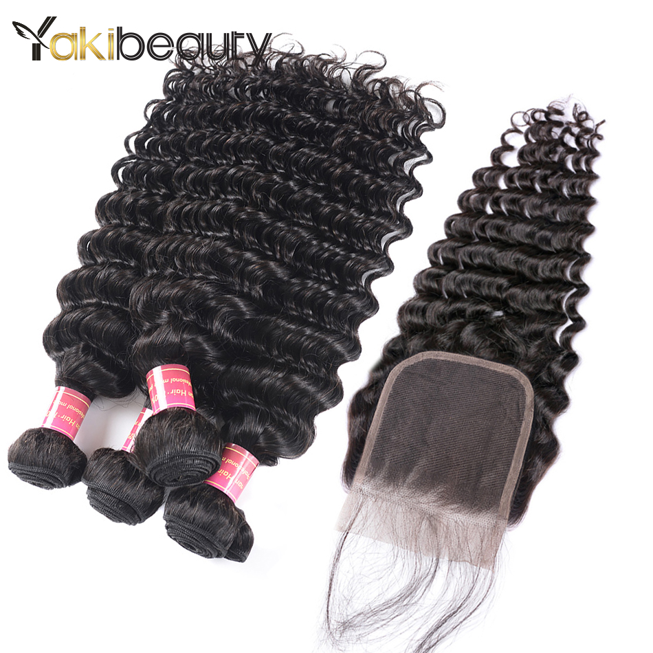 Brazilian Deep Wave 4 Bundles With Lace Closure 4x4 Natural Color Human Hair Remy Bundles With Closure 5 Pcs/lot Yakibeauty Hair