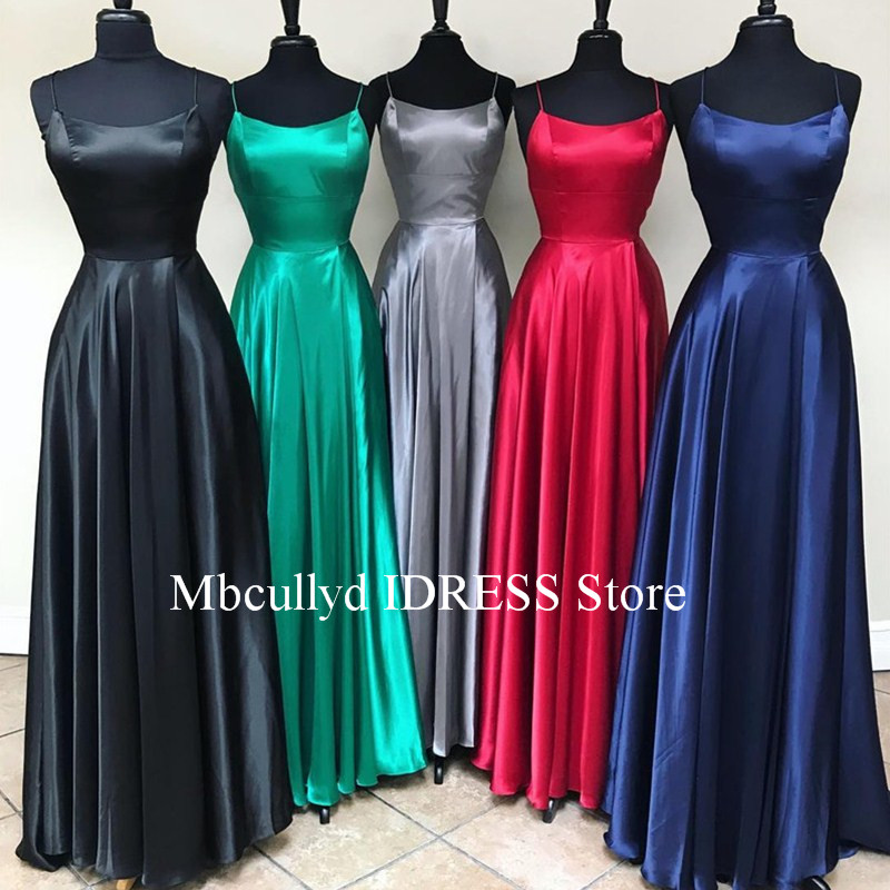 Elegant Backless A-line Prom Dresses 2019 Red Green Royal Blue High Slit Plus Size Long Vestido Fiesta Cheap Sale Robe De Soiree