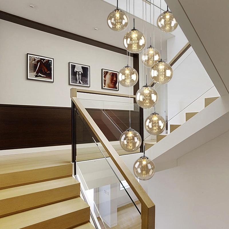 Verre Pendentif Lumière Escalier Suspendu Lampes Appareils D'éclairage pour le Salon Pendentif Lampe Moderne Pendentif Lumière pour la Cuisine