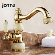 Copper jade faucet rotating water European basin art hot and cold